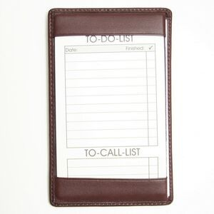Leather Traditional Note Jotter w/ 10 Things To Do Cards