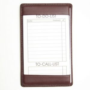 "Leather Note Jotter w/ 50 Things To Do Cards (5 1/2""x3 1/2""x1/4"")"