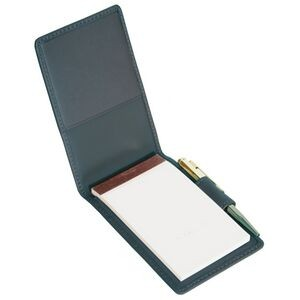 "Leather Flip Style Note Jotter w/ Plain Pad (4 1/2""x3""x3/4"")"