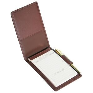 "Leather Deluxe Flip Style Note Jotter (4 1/2""x3""x3/4"")"