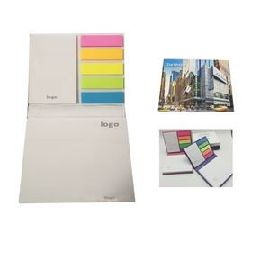 Hard Cover Company Logo Printing Assorted Page Marker Sticky Notes Memo Pad With PET Flag