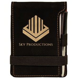 Note Pad & Pen Set - Black w/ Gold Engraving