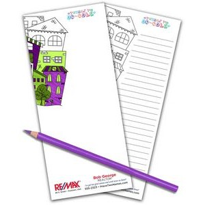 "3.5"" x 8"" Full Color Real Estate Coloring Notepad - 50 Sheets"