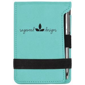 3.25 X 4 .75 Teal Leatherette Pad/Pen